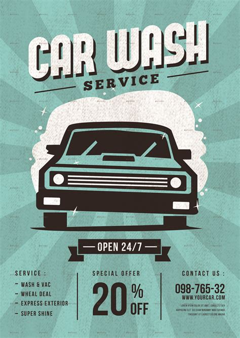A car wash flyer is an efficient way of luring motorists to visit your business and take your services. Car Wash Service Flyer by tokosatsu | GraphicRiver