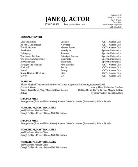 sample actor resume  examples