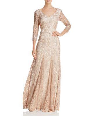 Tadashi Shoji Embellished Illusion Gown Women ...