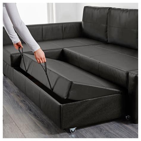 Friheten Corner Sofabed With Storage Bomstad Black Ikea