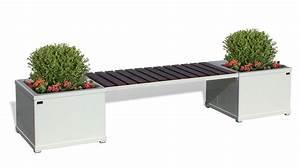 Panca con fioriere in metallo e seduta con listoni in legno, modello Rubix