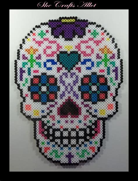 Halloween Perler Bead Projects by Perler Bead Colorful Sugar Skull Pattern Halloween