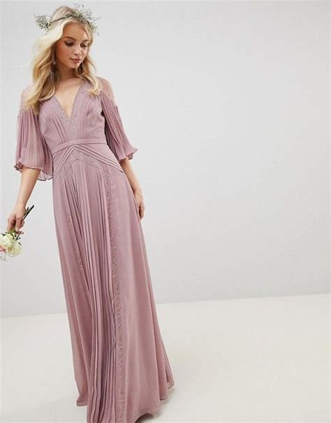 Design Pleated Paneled Flutter Sleeve Maxi Dress With Lace