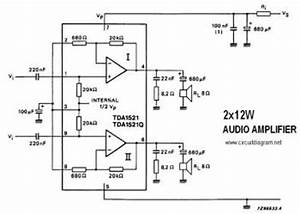 tda1521 12w stereo amplifier circuit audio circuit With echo chamber circuit diagram
