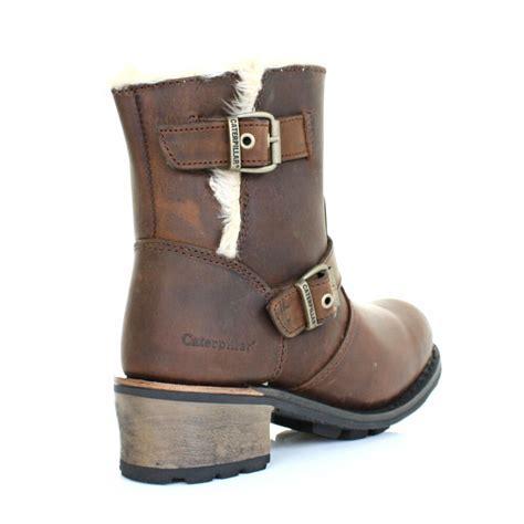 womens biker boots womens caterpillar anna kick brown leather fur trim ankle