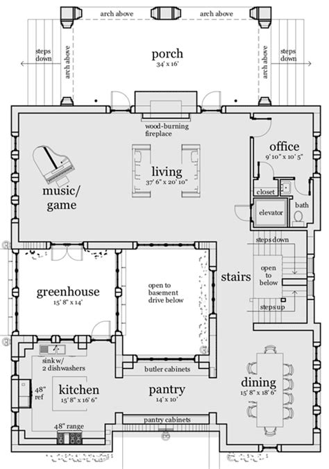 plan td castle home plan  elevator castle house plans castle house courtyard house