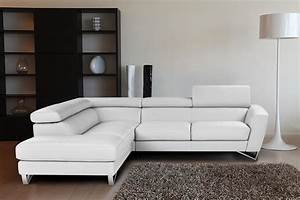 Sparta italian leather sectional sofa in white color for Small italian sectional sofa