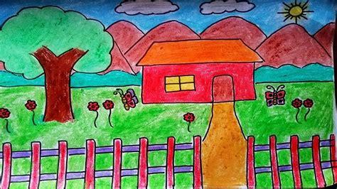 draw  landscape scenery  house  garden