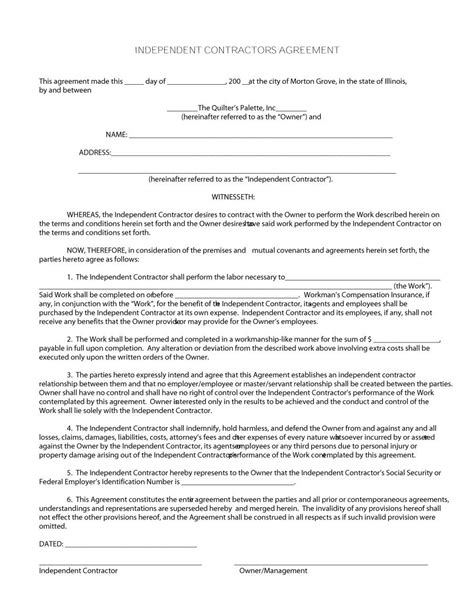 Contract Template by 50 Free Independent Contractor Agreement Forms Templates