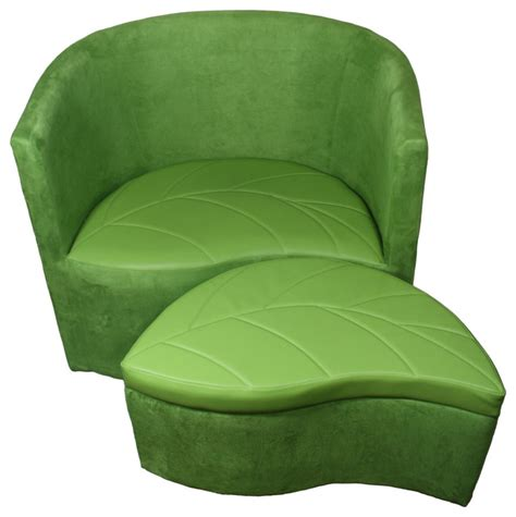 green suede accent chair with storage ottoman