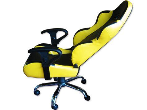 siege baquet fauteuil de bureau cuir jaune noir pied