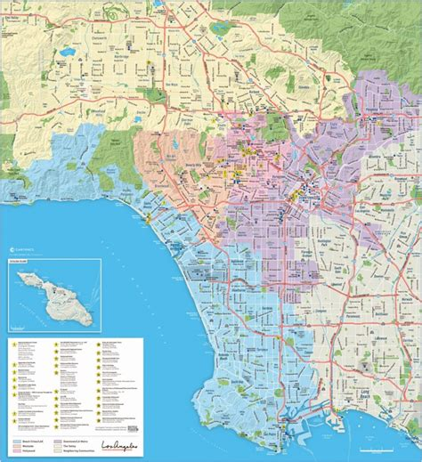 large detailed tourist map  los angeles