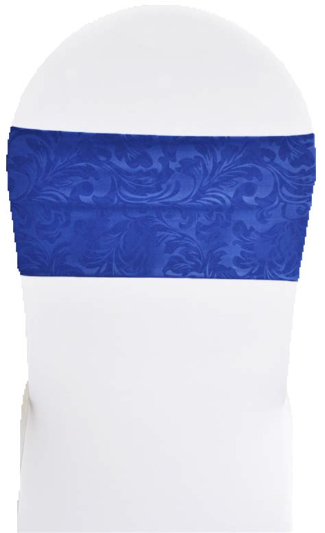 royal blue embossed spandex stretch chair bands