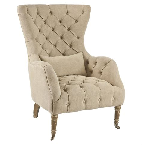 large tufted washed hemp wing back arm chair