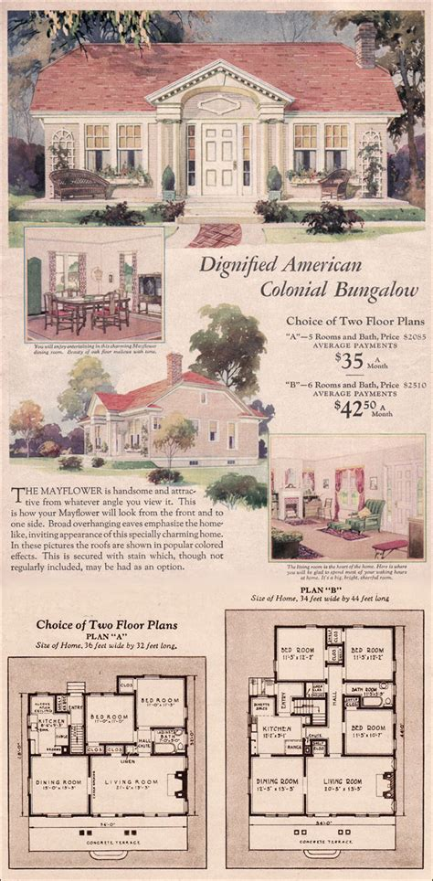 wardway house plans colonial revival cottage mayflower  montgomery ward