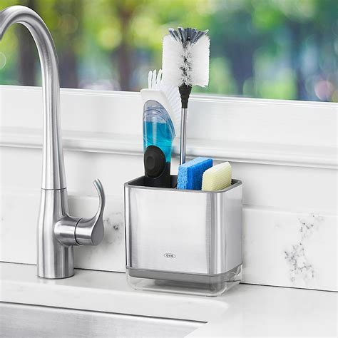 oxo stainless steel sink caddy  container store