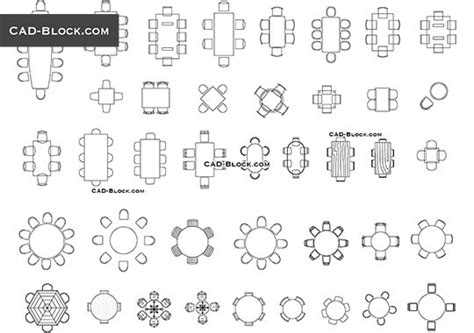 tables and chairs cad blocks free