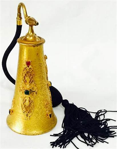 Perfume Gold Jeweled Filigree Bottle Silvercraft Guilt