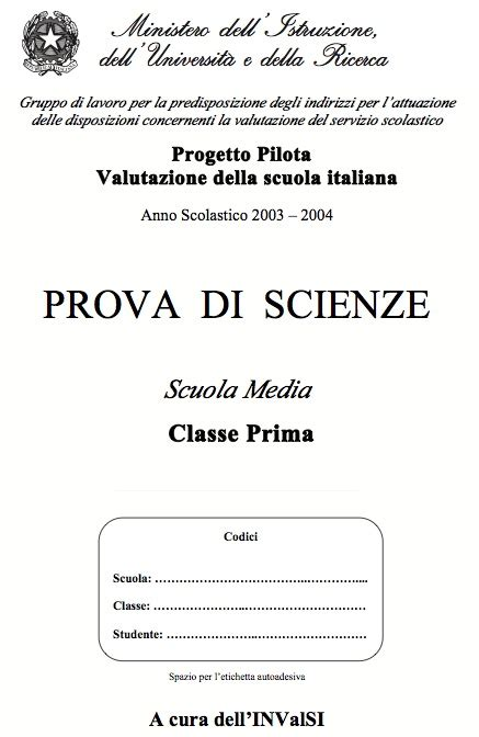 Test Ingresso Storia Prima Media by Prove Invalsi Di Scienze Per La Prima Media Osmosi Delle