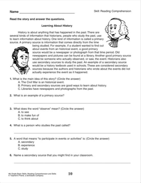 reading comprehension tests 4th grade scalien