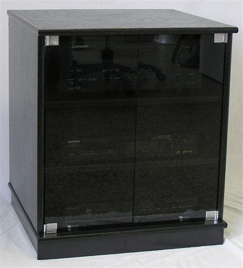 stereo cabinet with glass doors of small black oak tv stand with gray tint glass doors