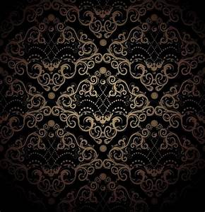 Floral black and gold seamless royal beauty ornament