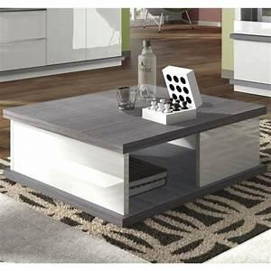 Table Grise Et Blanche : table basse blanc gris table basse contemporaine en verre maisonjoffrois ~ Teatrodelosmanantiales.com Idées de Décoration