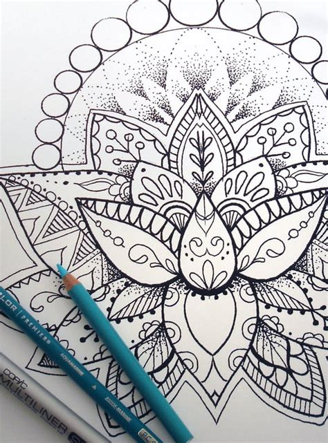 lotus flower coloring page instant  print   coloring pages adult coloring book