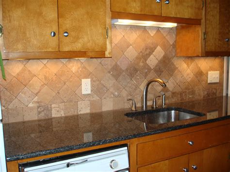Pictures Of Kitchen Backsplashes With Tile by Tumbled Travertine Kitchen Backsplash On Diagonal New