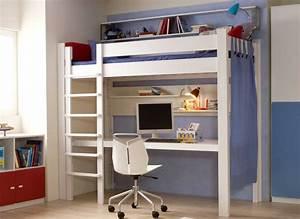 Lit Bureau Enfant : lit mezzanine bureau 90 x 200 cm en h tre massif destyle de breuyn ~ Teatrodelosmanantiales.com Idées de Décoration