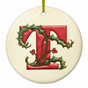 christmas holly monogram t christmas ornaments With letter c christmas ornaments