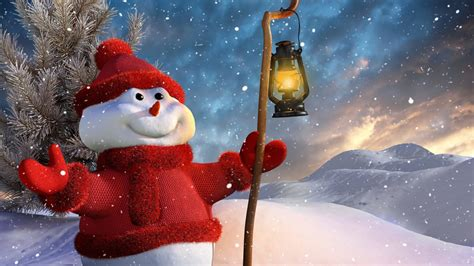 Download Christmas Snowman Hd Wallpaper For 1600 X 900