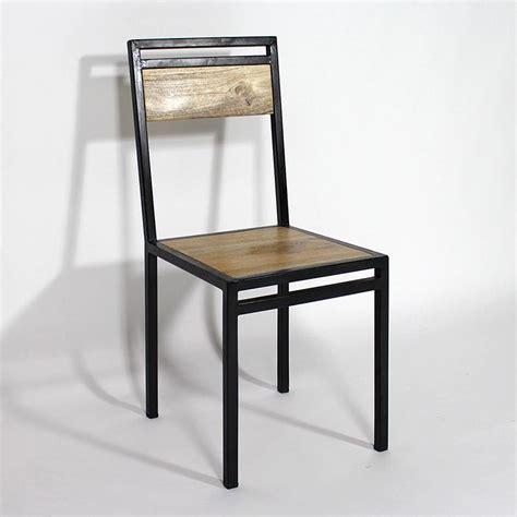 chaise m tal industriel chaise industrielle métal et bois de manguier metals