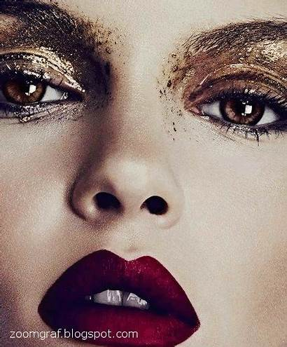 Makeup Eye Lips Editorial Smudged Artistic Glitter