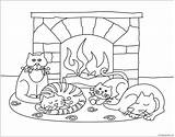 Winter Scenes Pages Animals Cute Coloring Printable Print Seasons Nature sketch template