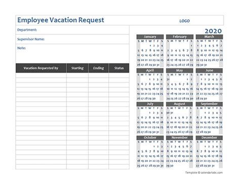 business employee vacation request  printable