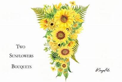Meadow Sunflowers Bouquets Flowers Clipart Watercolor Cart