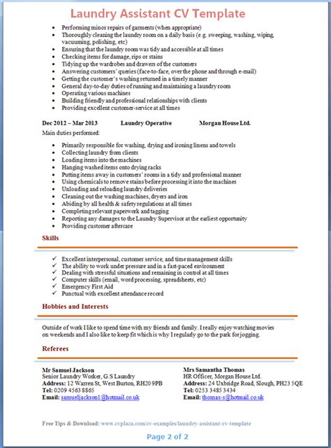laundry worker cv template