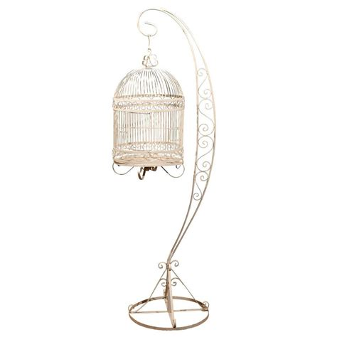 antique bird cage stand vintage iron bird cage on stand at 1stdibs