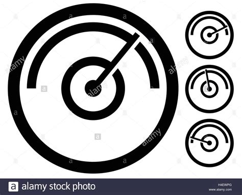 Gauge Meter Symbol, Icon At 4 Stages. Pressure Gauge