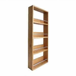 Contemporary Solid Oak Spice Rack 4 Tiers / Shelves
