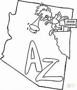Coloring Arizona State Map Canyon Grand Printable Osu Ohio Flag Getcolorings Template America North Categories sketch template