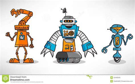 Three Vintage Cartoon Robot Stock Vector