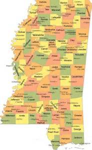 Mississippi State County Map