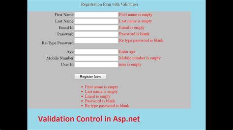 asp net form validation exle form validation in asp net validation control youtube