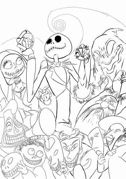 Nightmare Coloring Before Line Xmas Drawings Semajz