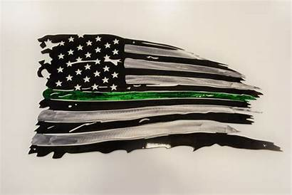 Thin Flag Line Tattered Metal Warden Police