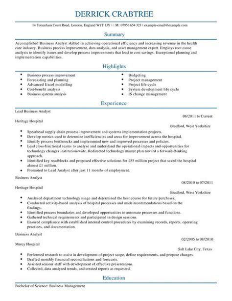 Healthcare Ba Resumes by Business Analyst Cv Exle For Business Livecareer