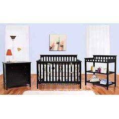 black nursery furniture on white nursery