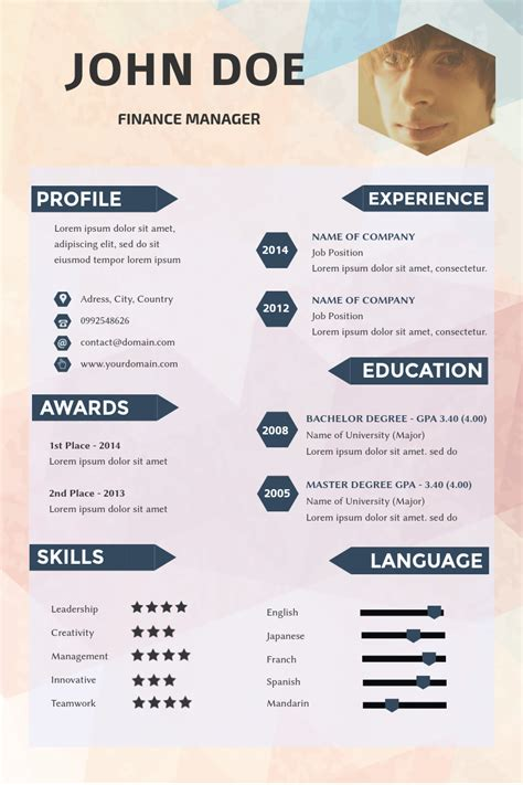 creative resume template layout available in visme no